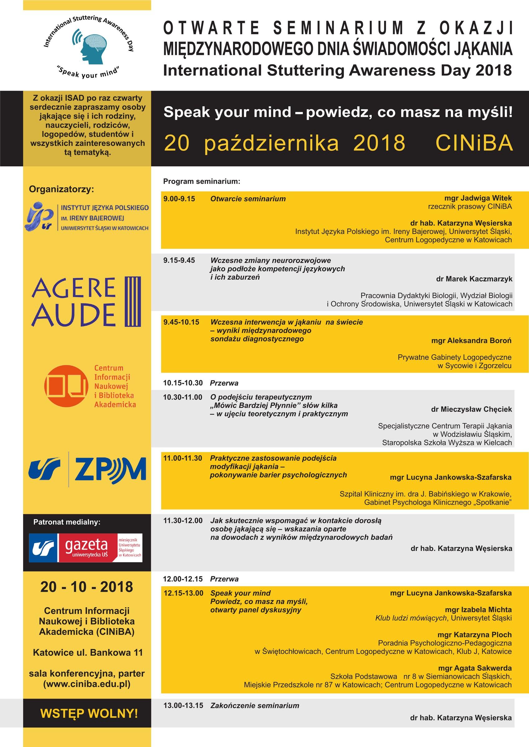 Zaproszenie Na Seminariumkonferencję Z Okazji Isad W Katowicach Na